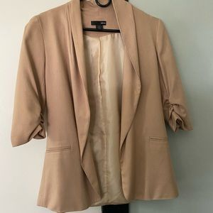 Aqua 3/4 sleeve tan blazer small